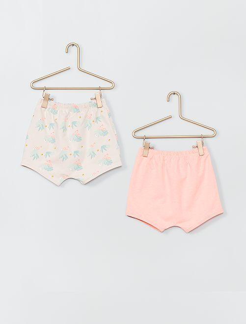 Lot de 2 shorts en coton                                                     rose