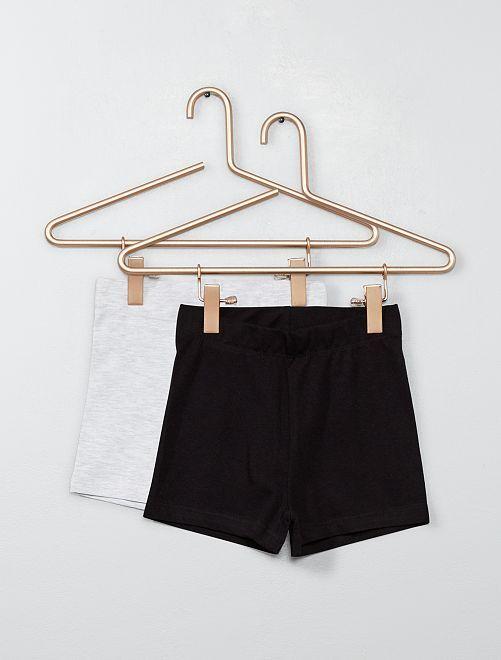 Lot de 2 shorts en jersey stretch                                         noir / gris chiné Fille