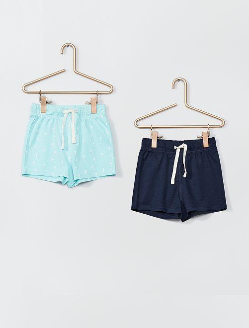Lot de 2 shorts en maille                                                     bleu marine/vert pâle