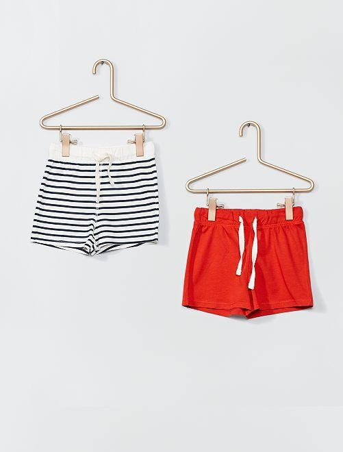 Lot de 2 shorts en maille                                                     rouge/marinière