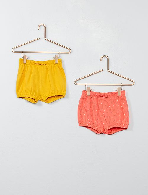 Lot de 2 shorts                                                                             jaune/rose Bébé fille