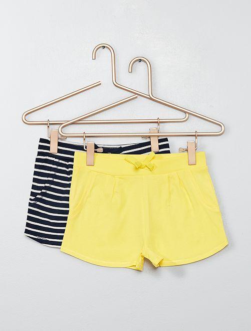 Lot de 2 shorts légers                                                                                         marine/jaune Fille