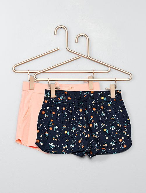 Lot de 2 shorts légers                                                                                         marine/rose