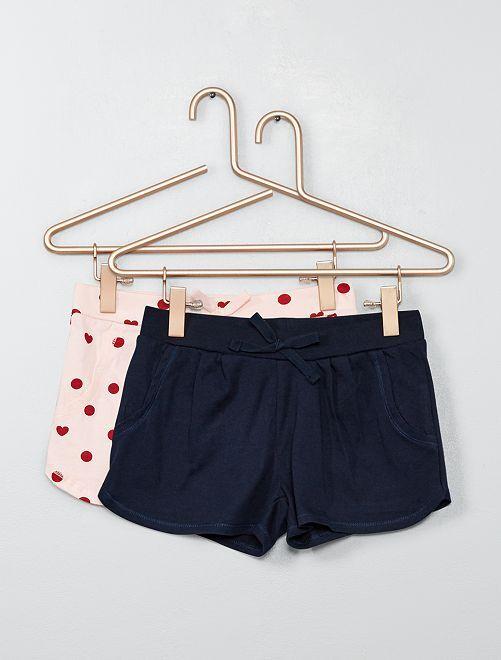 Lot de 2 shorts légers                                                                                         rose/marine Fille