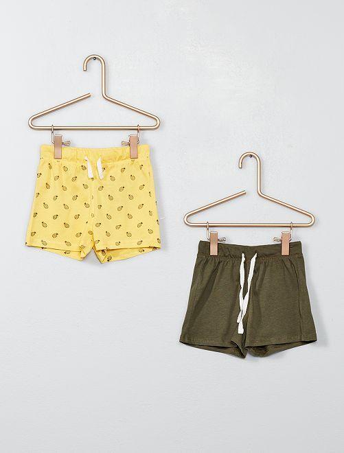 Lot de 2 shorts pur coton                                                                 jaune/kaki Bébé garçon