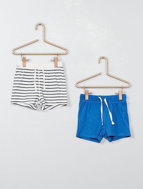 Lot de 2 shorts pur coton                                                                 rayé/bleu Bébé garçon