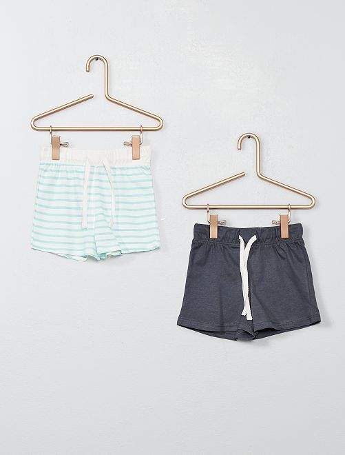 Lot de 2 shorts pur coton                                                                 rayé/gris