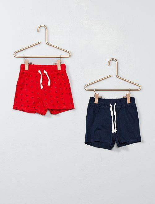 Lot de 2 shorts pur coton                                                                             rouge/marine Bébé garçon