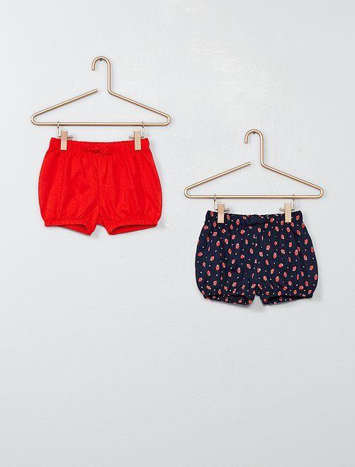 Lot de 2 shorts                                                     rouge/marine Bébé fille