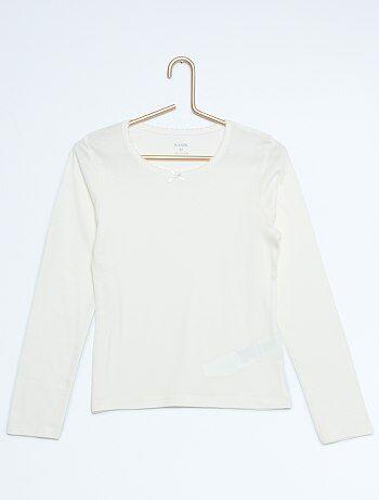 lot de 2 t shirt manches longues fille blanc rose. Black Bedroom Furniture Sets. Home Design Ideas