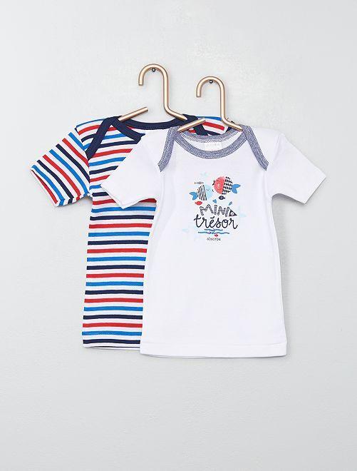 Lot de 2 t-shirts 'Absorba' thème marin                             blanc/bleu