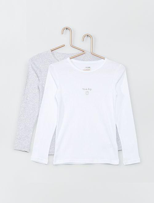 Lot de 2 t-shirts éco-conçus                                         blanc/gris chiné
