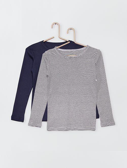 Lot de 2 t-shirts éco-conçus                                         bleu marine/rayé