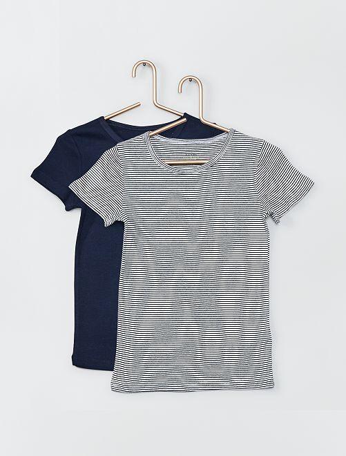 Lot de 2 T-shirts éco-conçus                                         bleu/rayé