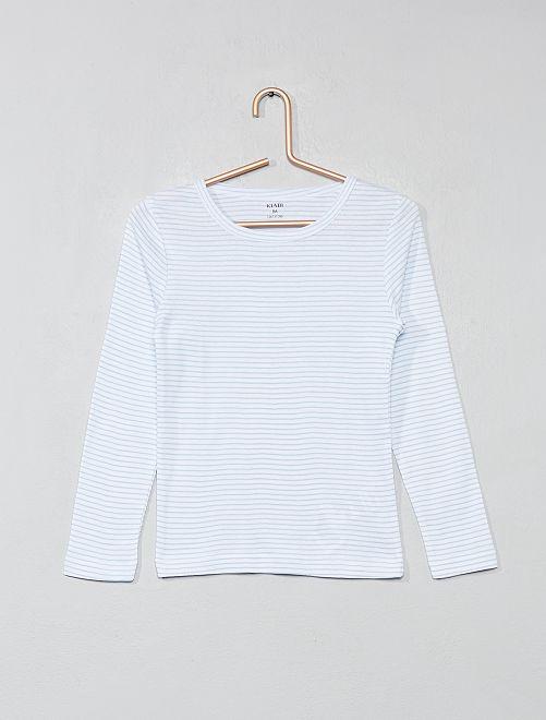 Lot de 2 t-shirts manches longues                             blanc/rayé Fille