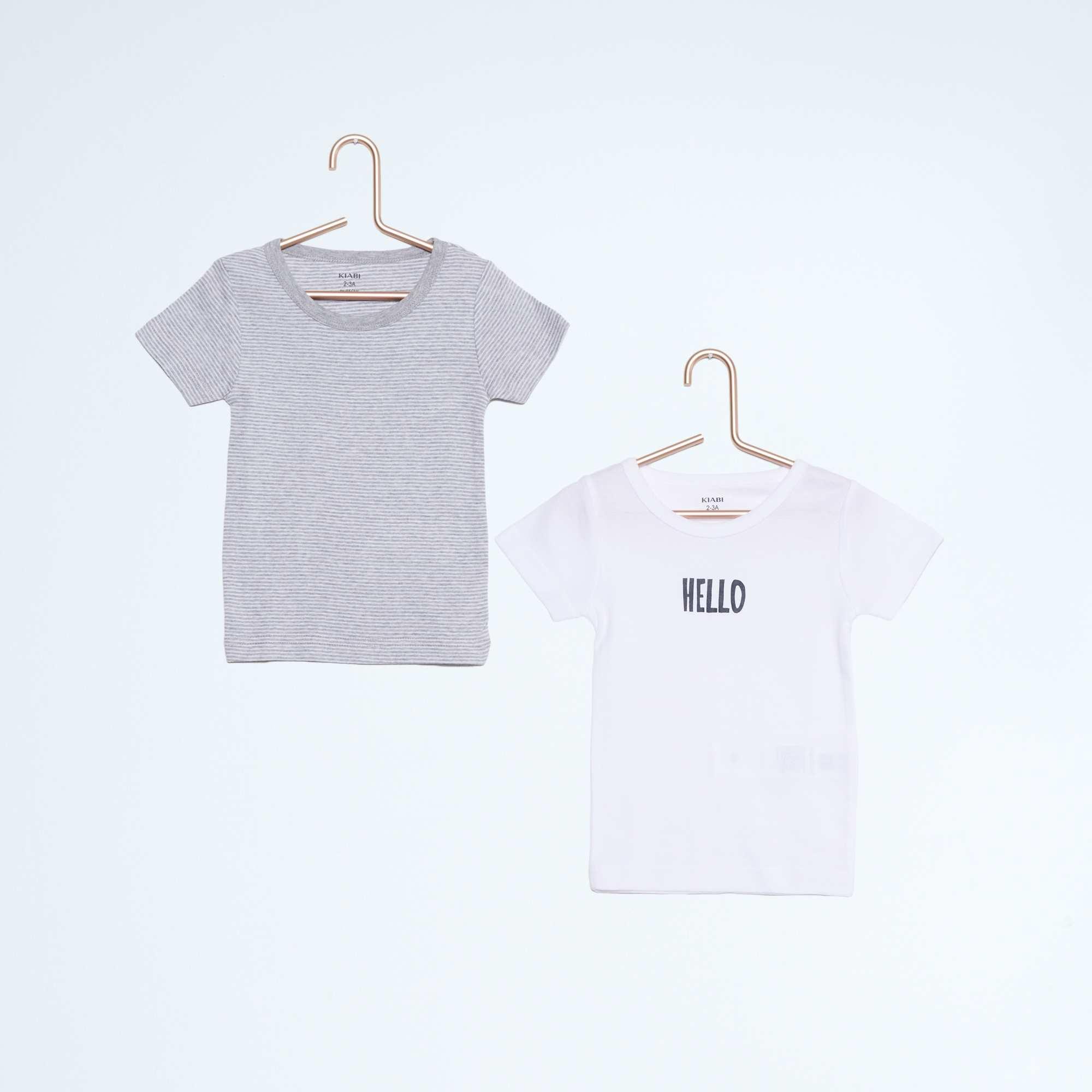 lot de 2 tee shirt coton fille blanc gris kiabi 5 60. Black Bedroom Furniture Sets. Home Design Ideas