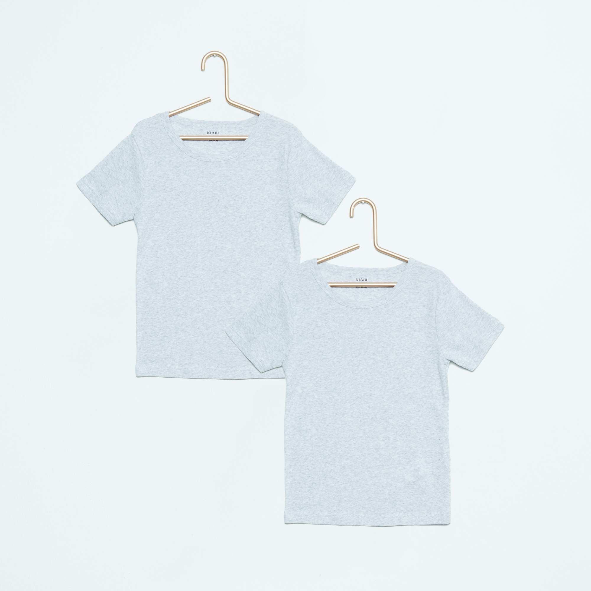 lot de 2 tee shirt coton fille gris kiabi 7 00. Black Bedroom Furniture Sets. Home Design Ideas