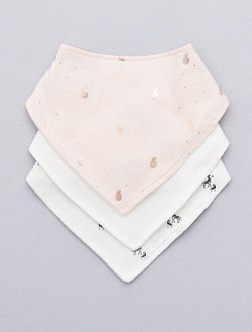 Lot de 3 bavoirs bandana 'ananas'                                         rose/blanc Bébé fille