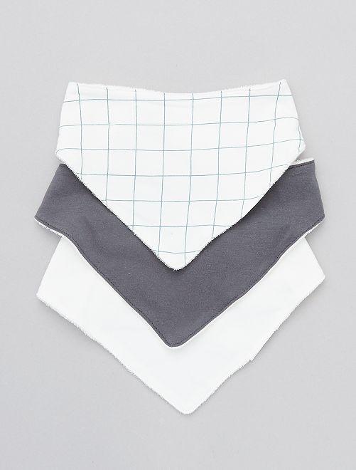 Lot de 3 bavoirs bandana                             carreaux