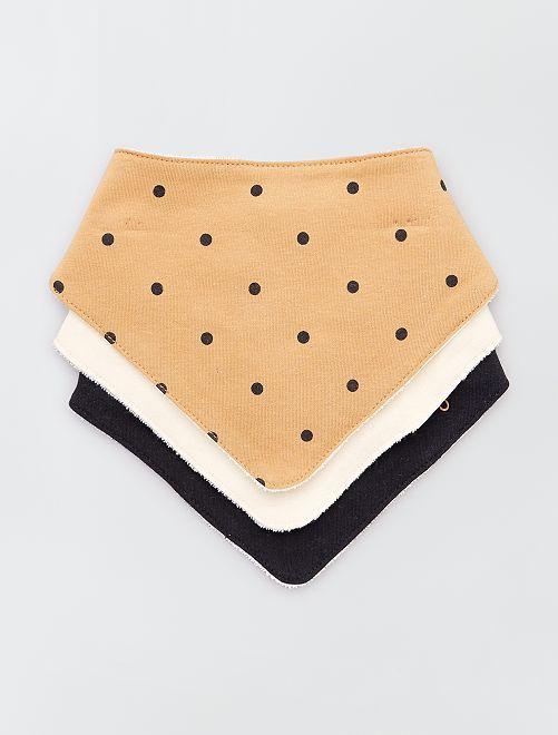 Lot de 3 bavoirs bandana imprimés                                                                 camel/beige/noir