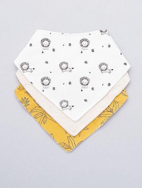 Lot de 3 bavoirs bandana 'lions'                                         blanc/jaune Bébé garçon