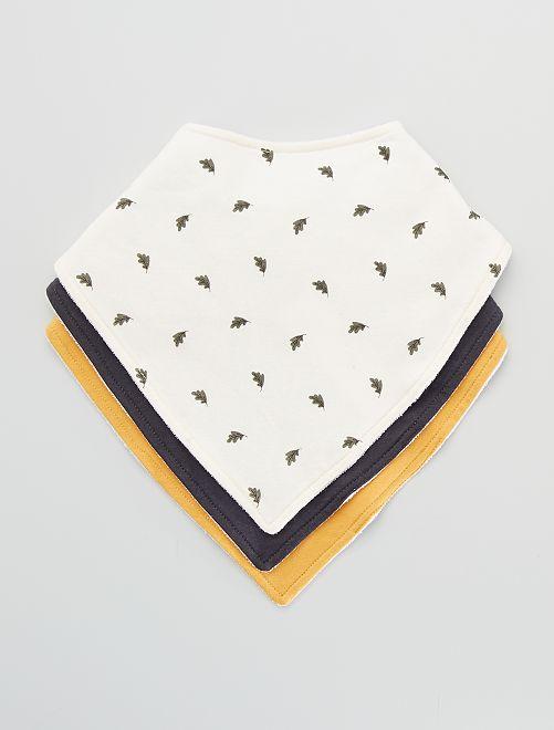 Lot de 3 bavoirs foulard imprimés                                         écru/jaune/gris foncé