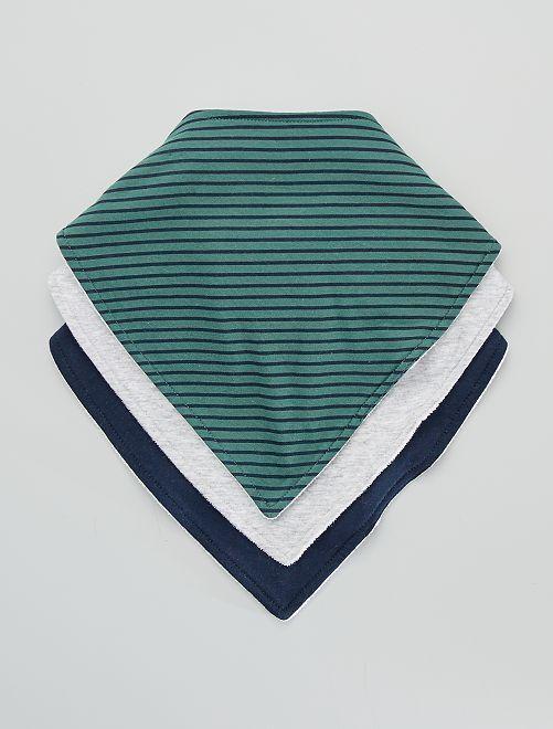 Lot de 3 bavoirs foulard imprimés                                         vert/marine/gris chiné