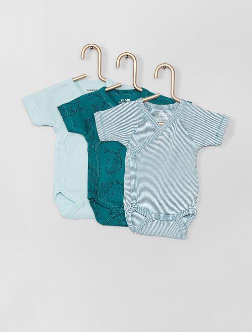 Lot de 3 bodies                                                                 bleu/vert