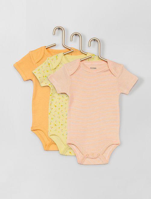 Lot de 3 bodies éco-conçus                                                                                         jaune