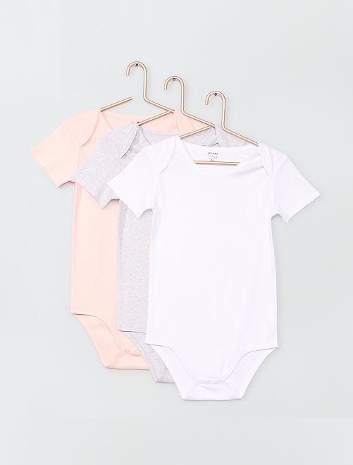 Lot de 3 bodies pour enfant éco-conçus                                         rose/gris/blanc
