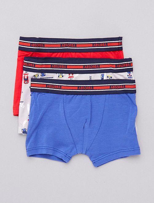 Lot de 3 boxers 'Absorba' thème 'Grand Prix'                             bleu/rouge/gris