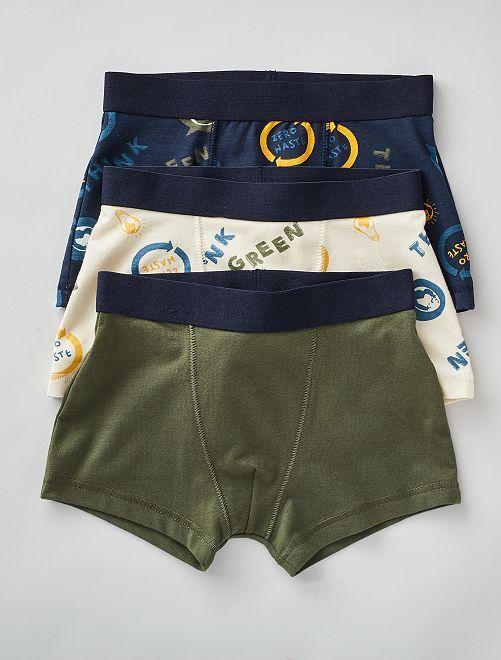 Lot de 3 boxers                                                                                                                                                                                                                                                                                                     beige/kaki/bleu