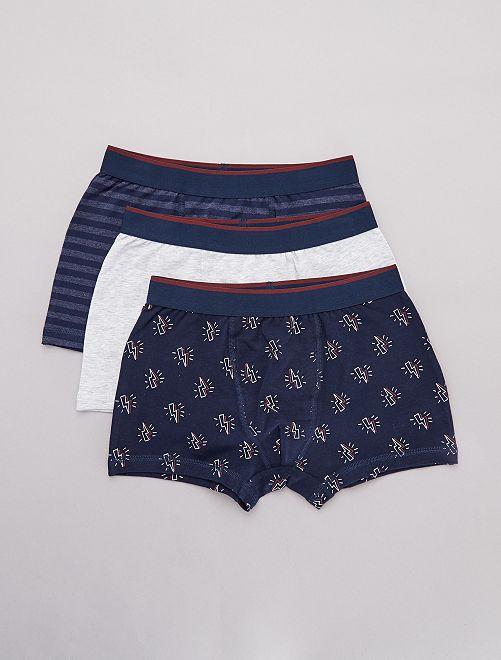Lot de 3 boxers                             bleu/gris