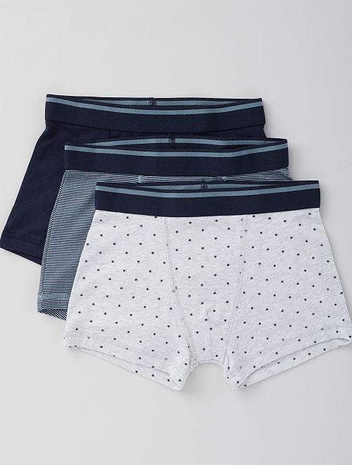 Lot de 3 boxers                                                                                                                                                                                                                                                                             bleu/gris/étoiles