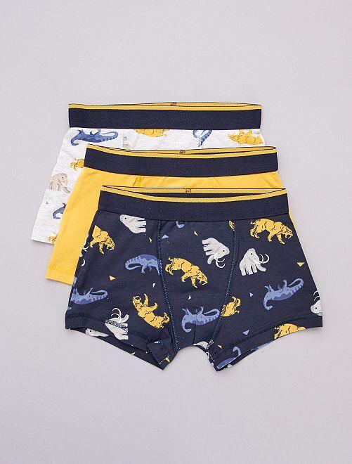 Lot de 3 boxers                                                                                             bleu/gris/moutarde