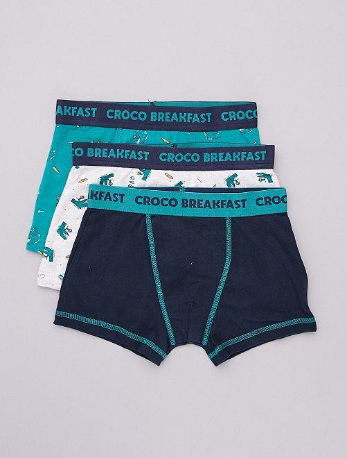 Lot de 3 boxers                                                                                                                             bleu/gris/vert