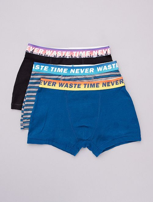 Lot de 3 boxers                                                         bleu/noir/rayures