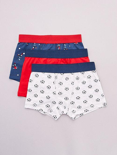 Lot de 3 boxers                                                                                                                                                                                                                                                                 bleu/rouge/gris