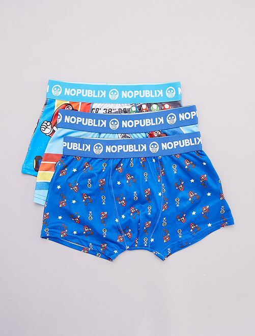 Lot de 3 boxers Calaveritas 'No Publik'                             bleu/multico