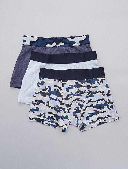 Lot de 3 boxers 'camouflage'                             gris/bleu Garçon adolescent