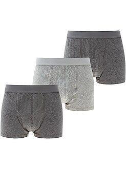 Sous-vêtements - Lot de 3 boxers chinés unis grande taille - Kiabi