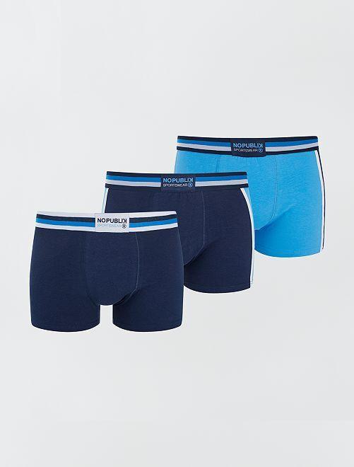 Lot de 3 boxers de sport 'No Publik'                                                     bleu