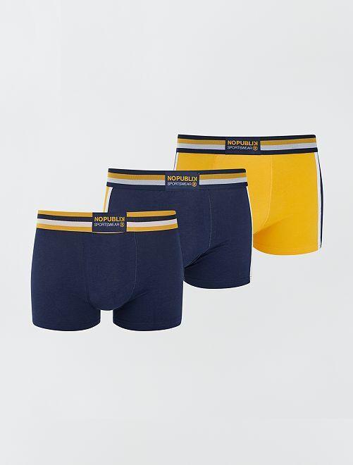 Lot de 3 boxers de sport 'No Publik'                                                     marine/jaune