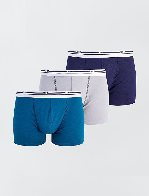 Lot de 3 boxers 'DIM'                                                     gris/bleu