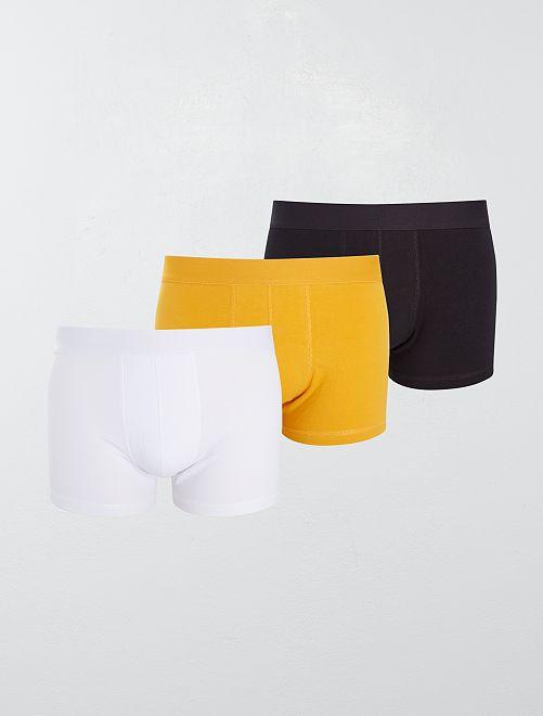 Lot de 3 boxers 'éco-conception'                                                                                                     jaune blanc noir