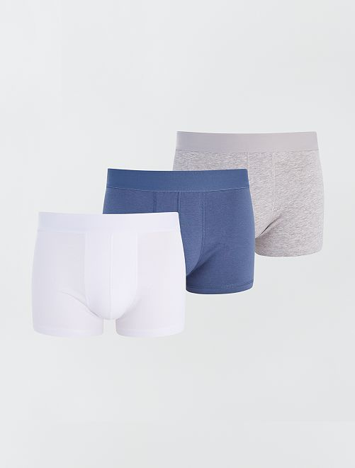 Lot de 3 boxers éco-conçus                                                                                                                             bleu blanc gris