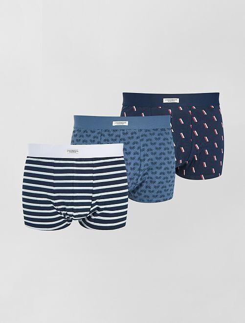 Lot de 3 boxers éco-conçus                             bleu