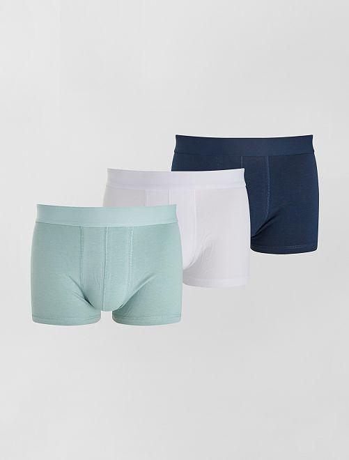 Lot de 3 boxers éco-conçus                                                                                                                             bleu/blanc/vert
