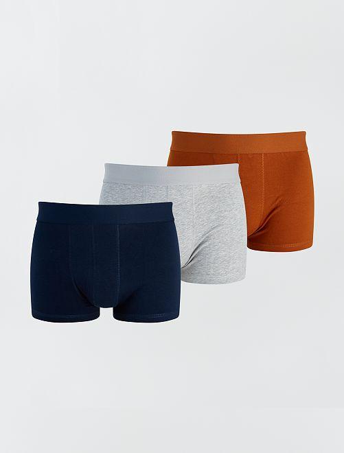 Lot de 3 boxers éco-conçus                                                                                                                                         gris/bleu/camel