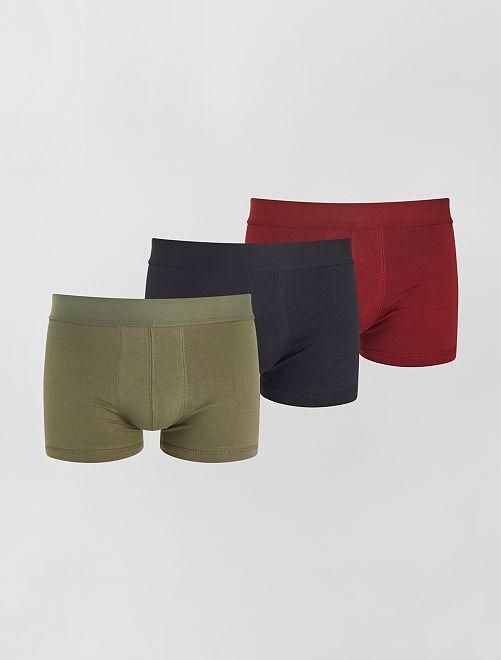 Lot de 3 boxers éco-conçus                                                                                                                                         KAKI